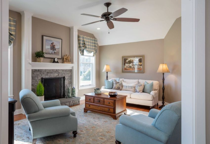 Grey Stone And Wood Furnishings Add Some Blue Primarily Based Neutral Colors Youll Have The Ideal Residing Space Taupe Color Decorating Ideas