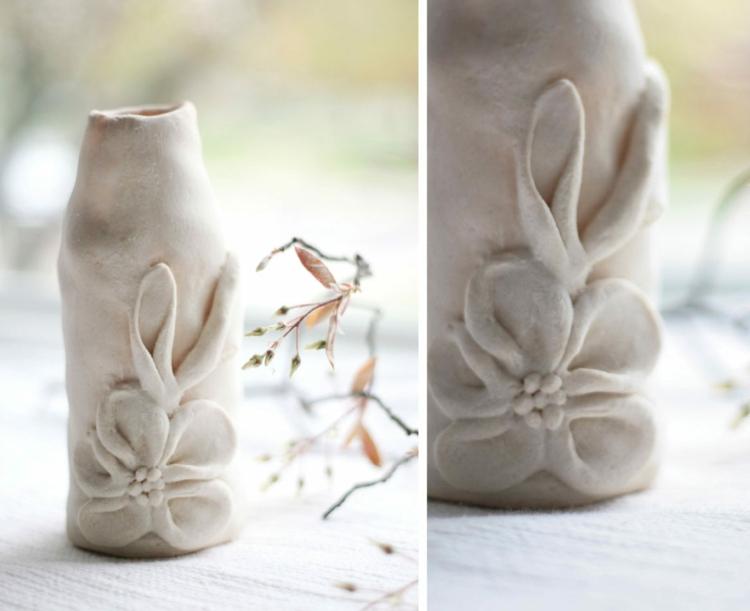 roll play dough-ideas-DIY-vase-flower-glass-bottle-dough-