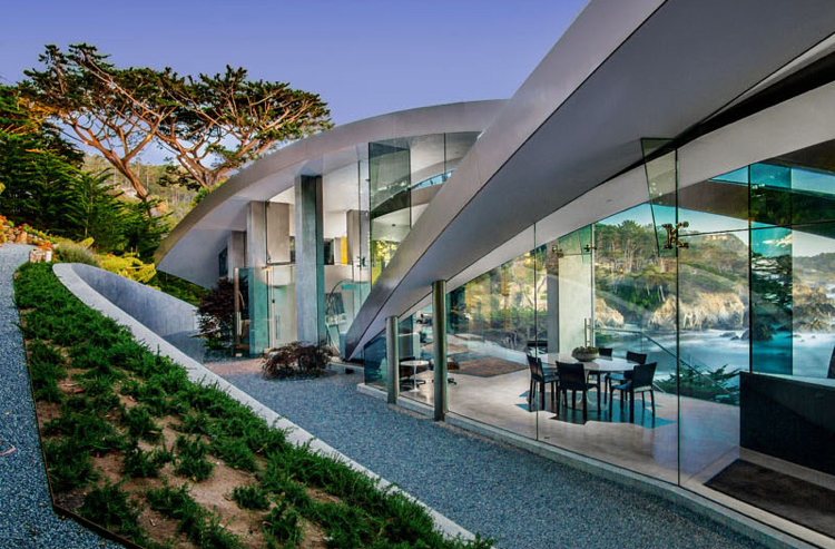 facade-glass-concrete-garden-gravel-architecture