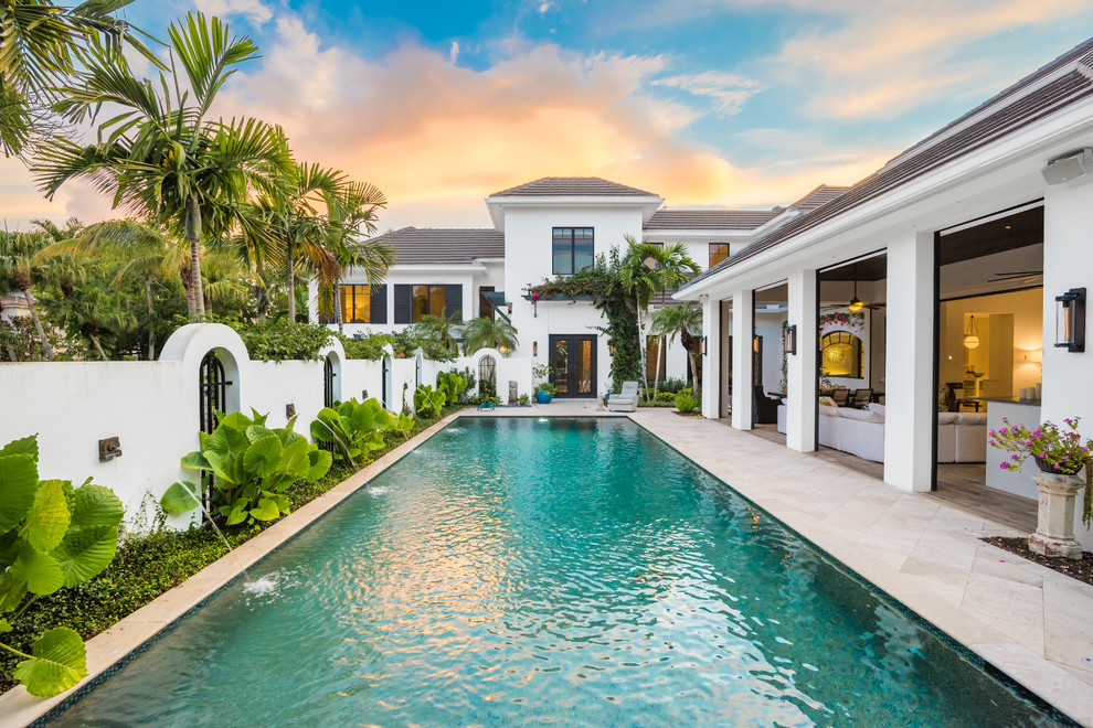 Totally Beautiful Backyard Swimming Pool And Landscape In An Old Naples Courtyard Home Miami