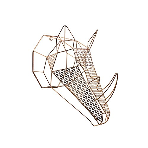 Kate and Laurel Orbie Geometric Metal Mounted Rhino Head...
