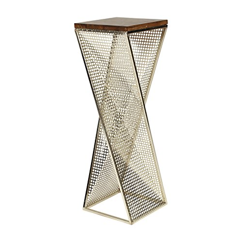 Kate and Laurel Elita Walnut Wood and Metal Pedestal End...