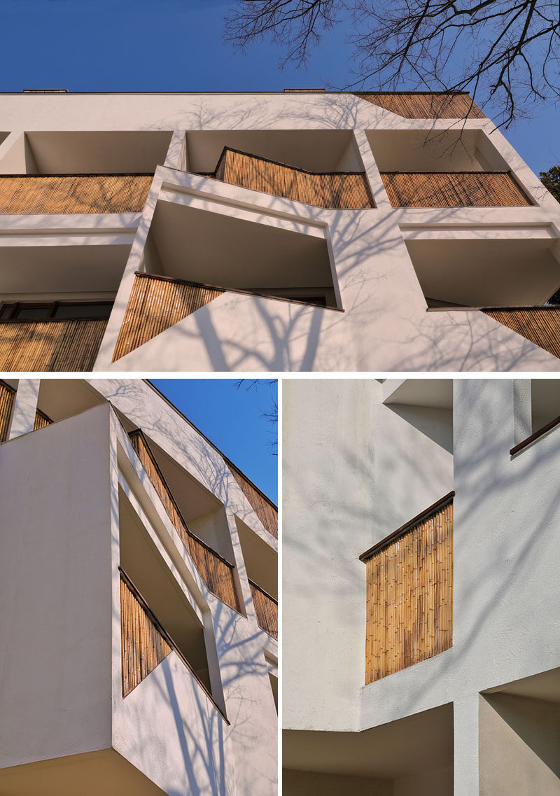 This modern hotel has angled balconies and useslocally sourced bamboo wood to create interest on the facade. #Hotel #Architecture #Balconies