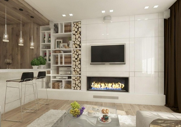 Rp_Fireplace Living Bioethanol Modern Decor White High Gloss Wall Covering