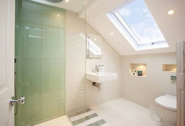 Small Bathroom With A Sloping Roof Is Suited To The