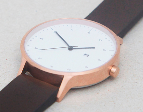 INSTRMNT 01 in rose gold/brown with 3 o'clock date window