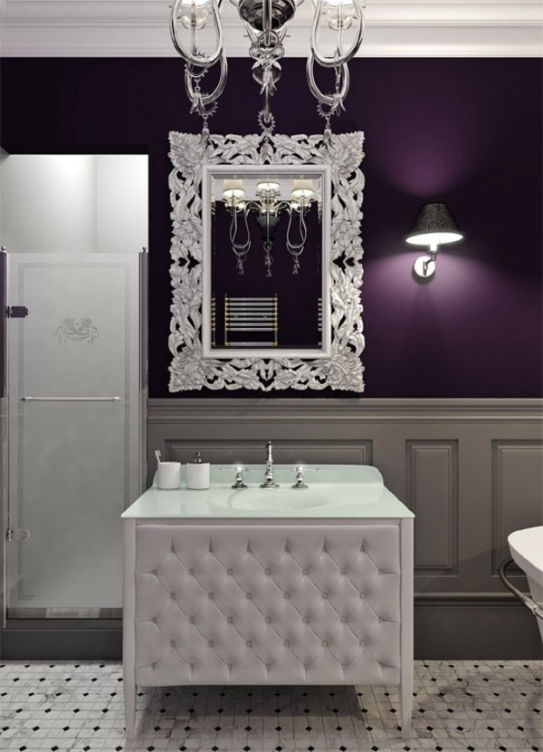 bathroom wall design in purple