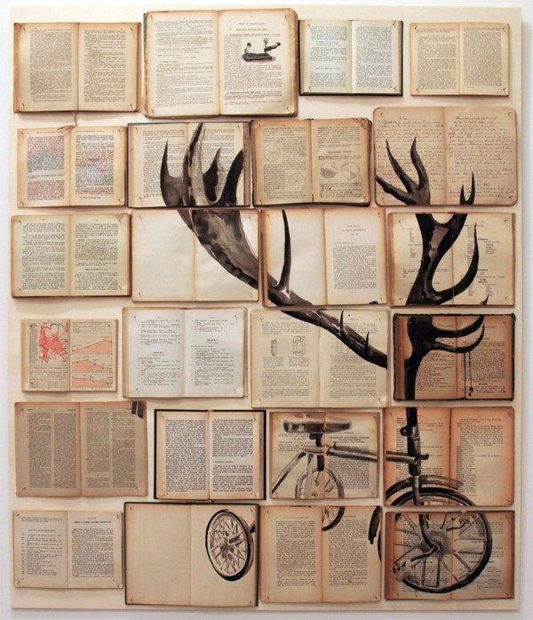 Book painting old yellowed books childhood feelings deer