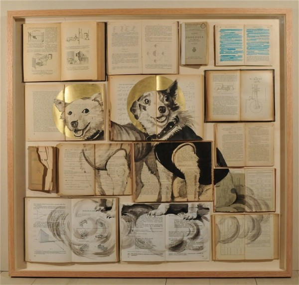 Book painting old yellowed books childhood feelings dog