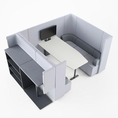 Brackets-lite office furniture by Nendo for Kokuyo