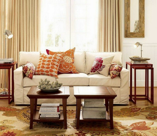 classic accents in the living room sofa with upholstered cushions