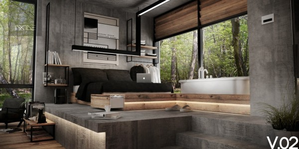 This rustic bedroom proves that a cabin in the woods can come in many styles. With warm industrial concrete walls and natural wood furnishings, this creative bedroom marries the idea of city and solitude perfectly.