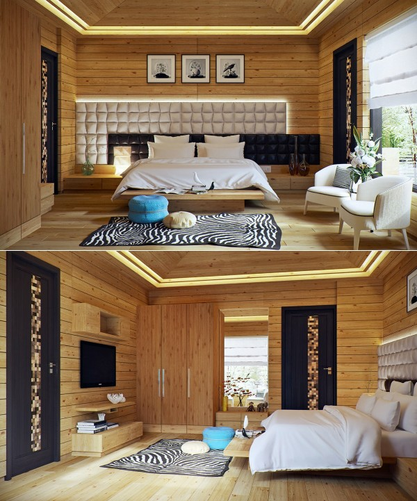 stylish bedroom design. The asymmetrical headboard in this overwhelming wood paneled bedroom gives  an otherwise rustic country room a Stylish Bedroom Designs With Beautiful Creative Details Decor10 Blog