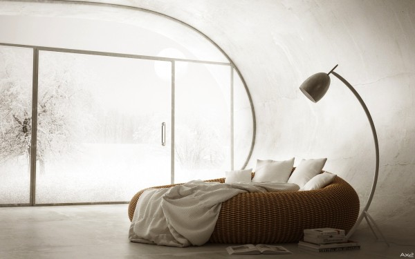 The worst part about this cozy nest of a bed in a futuristically round room is how difficult it would be to extract yourself from its clutches each morning. But there are worse problems to have.