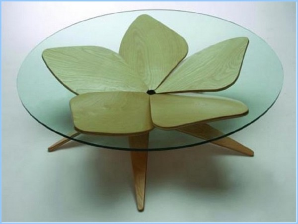 : Curved Glass And Wood Coffee Tables Antique