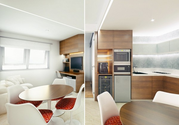 Finally, we'll look at this quaint, modern apartment from the designers at FPCamp.