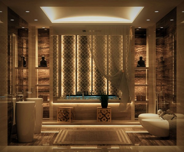 The halo lighting above this bathroom gives it a flattering, relaxing atmosphere that will make any bath time ritual feel like a treat.
