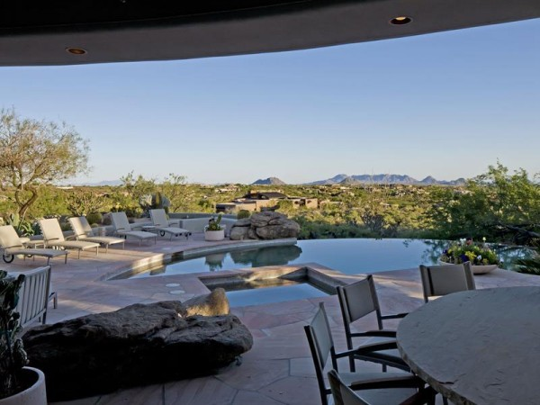 Here we can see the stunning desert views offered from the patio, which is just a sliver of the nearly 3 acres the home sits upon.