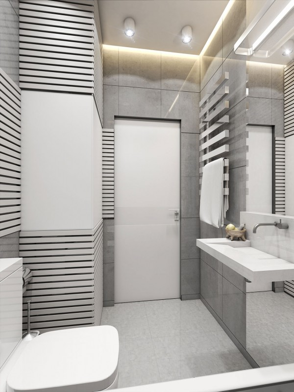 In the bathroom, reflective surfaces are always a must but here in particular they keep the space from feeling cramped.