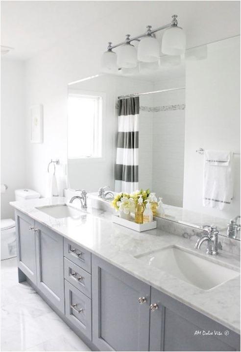 gray painted bathroom vanity