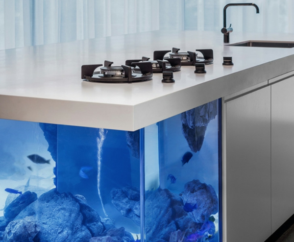 great aquarium kitchen island