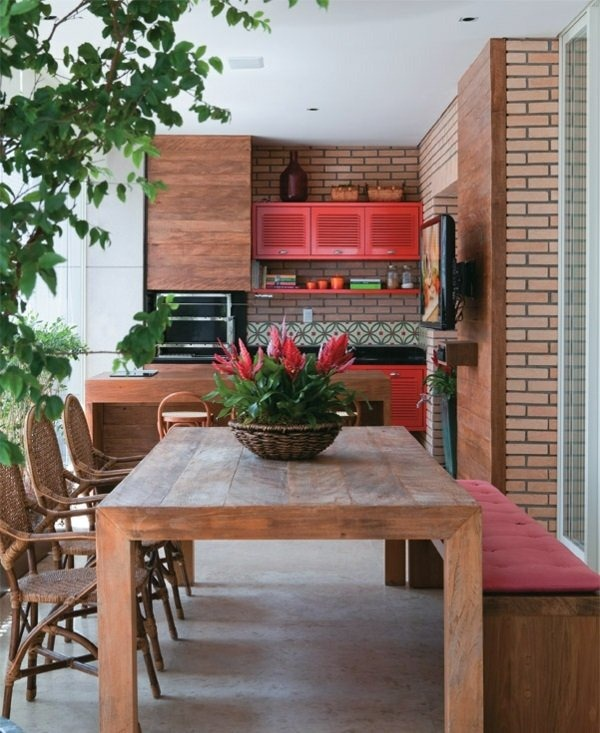 green deco ideas houseplants terrace design wooden kitchen dining area