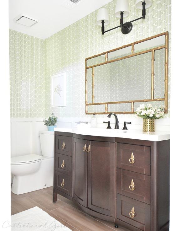 green gold bathroom makeover