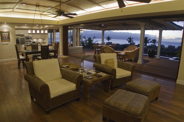 Hawaii living room sofas bamboo palms open space