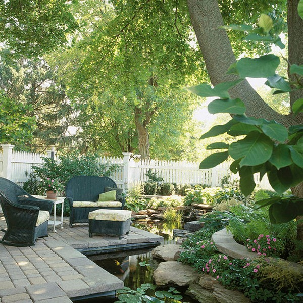 ideas for garden pond accent furniture design
