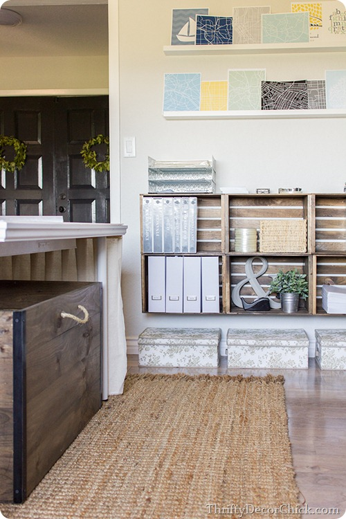 wood crate hanging organization