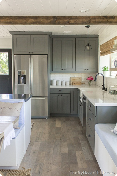 gray cabinets kitchen