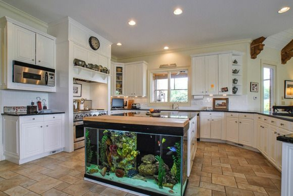 in the kitchen island aquarium