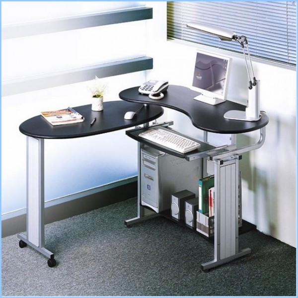 : Interior Furniture Charming Black Oval Top Home Office Computer Desk Design Ideas