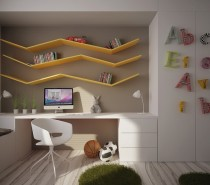 This built-in is filled with functionality and purpose. It features a long desk with drawers, closet and turning the corner a connected bench.