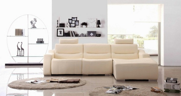 Leather sofa with a round rug