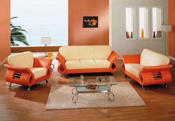 : Luxury Orange Living Room Design Ideas
