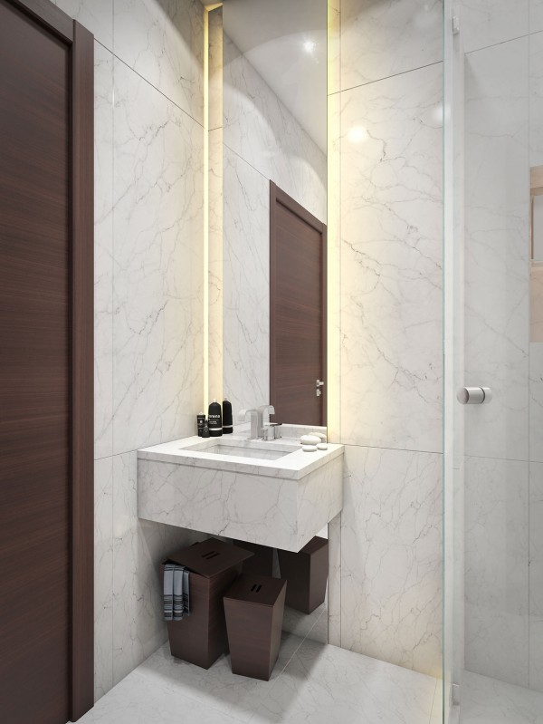 Even the smallest bathroom feels luxurious when it's decked out in white marble.