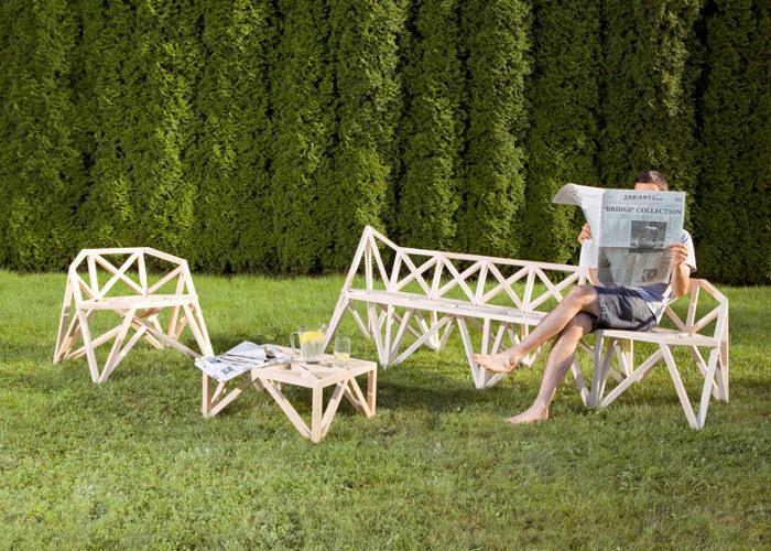 Meubles Bridge les assises géométriques par le Studio Variant