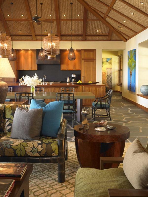 modern bamboo carpet Kisschen wooden table chair Hawaii