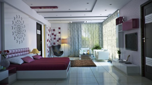 The burgundy accents in this artsy bedroom from ImageBox Studio are feminine without dipping too far into the girly.