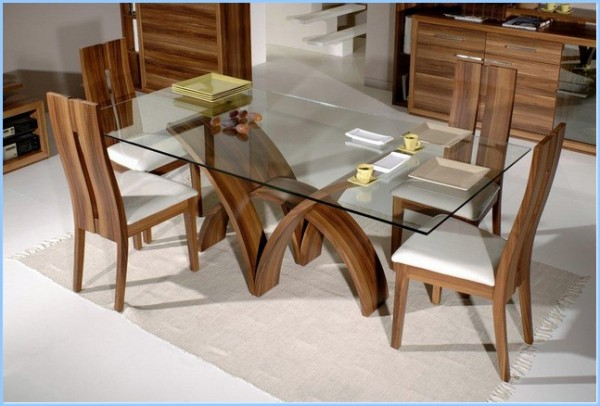 : Modern Rectangular Dining Table With Glass Top Dining Set Adeline Glass Top Dining Sets
