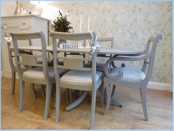 : Painted Vintage Dining Table Six Chairs Set