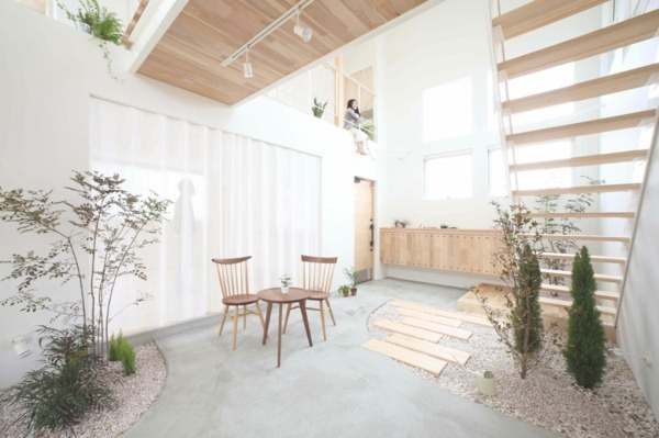 plant table with chairs stair