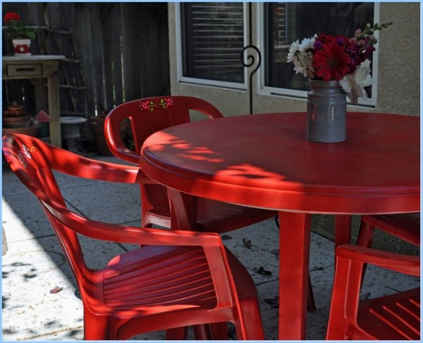 : Plastick Patio Chairs Red