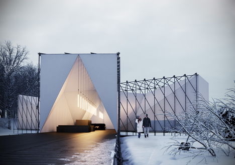 Pop-up restaurant on a frozen lake by OS31
