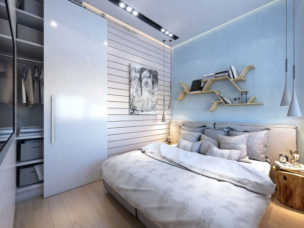 Shelving doubles as a headboard, which adds interest and a bit of useful storage.