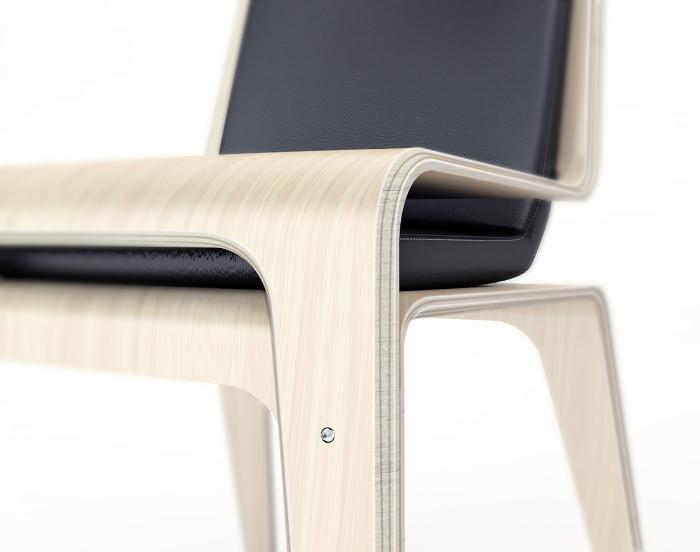 détails chaise cuir bois design - Projet étudiant : Chaise Flexy par Léo Marzolf ISD Valenciennes