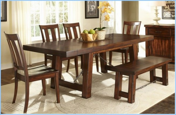 : Rectangular Dining Room Set Bench In Mahogany