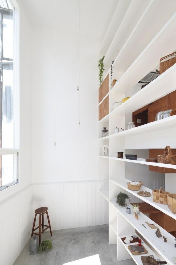 residential open wall shelving ideas chair