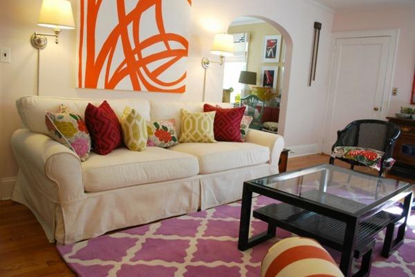 Retro pattern Purple Carpet cushion sofa